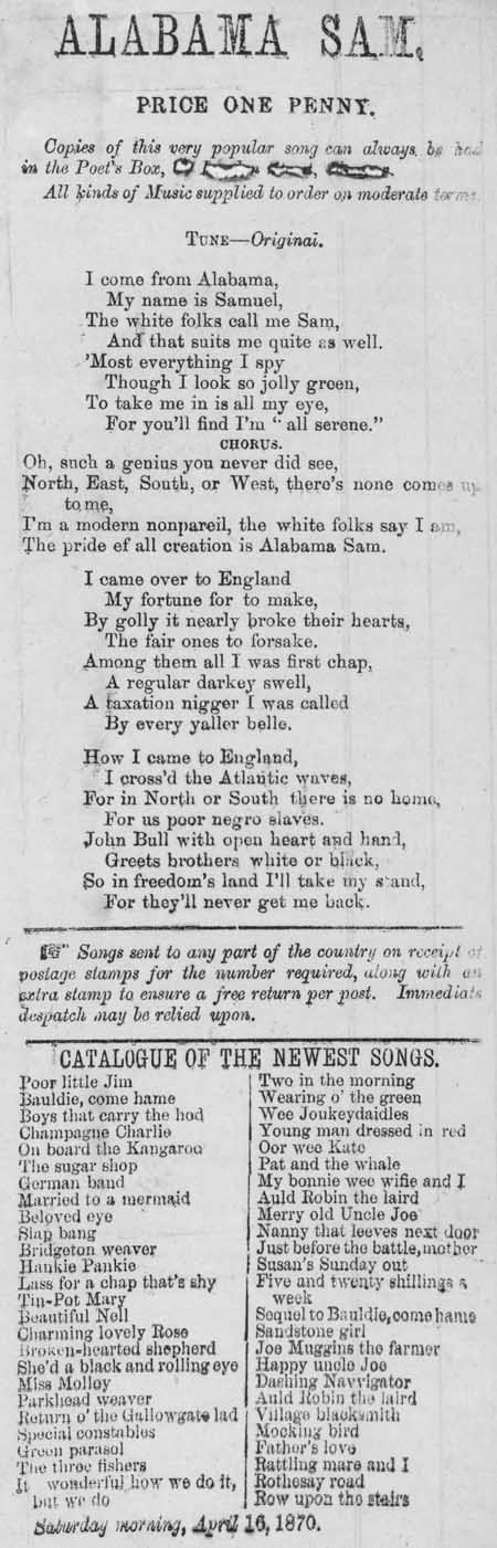 Broadside ballad entitled 'Alabama Sam'