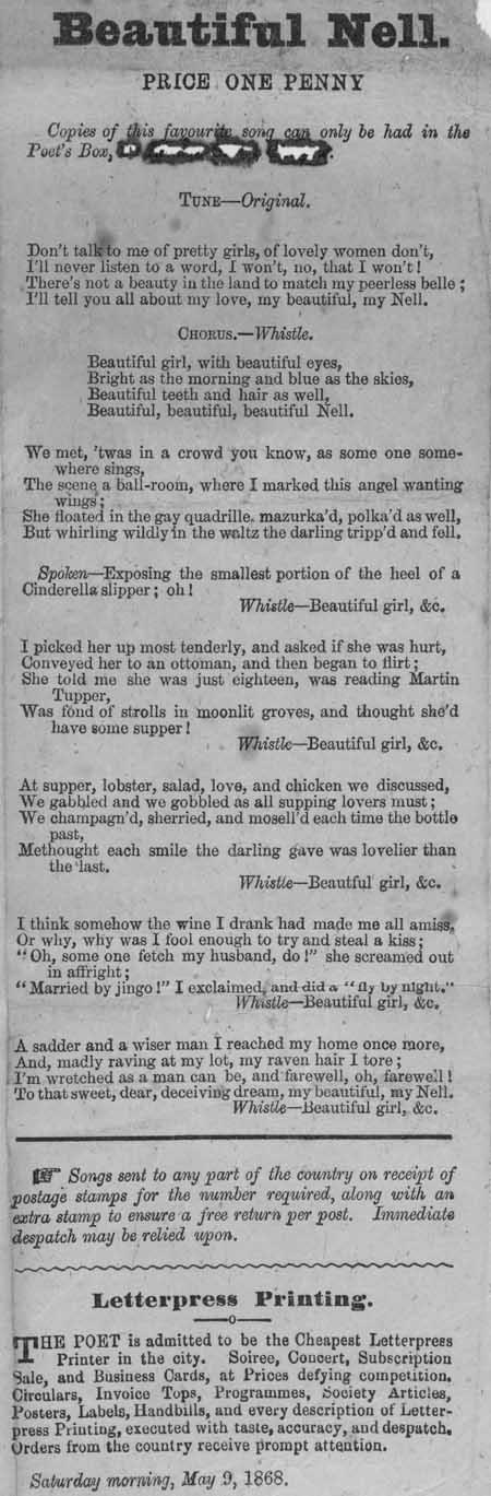 Broadside ballad entitled 'Beautiful Nell'