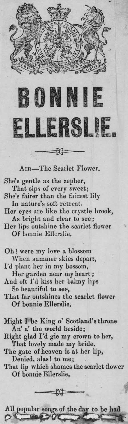 Broadside ballad entitled 'Bonnie Ellerslie'