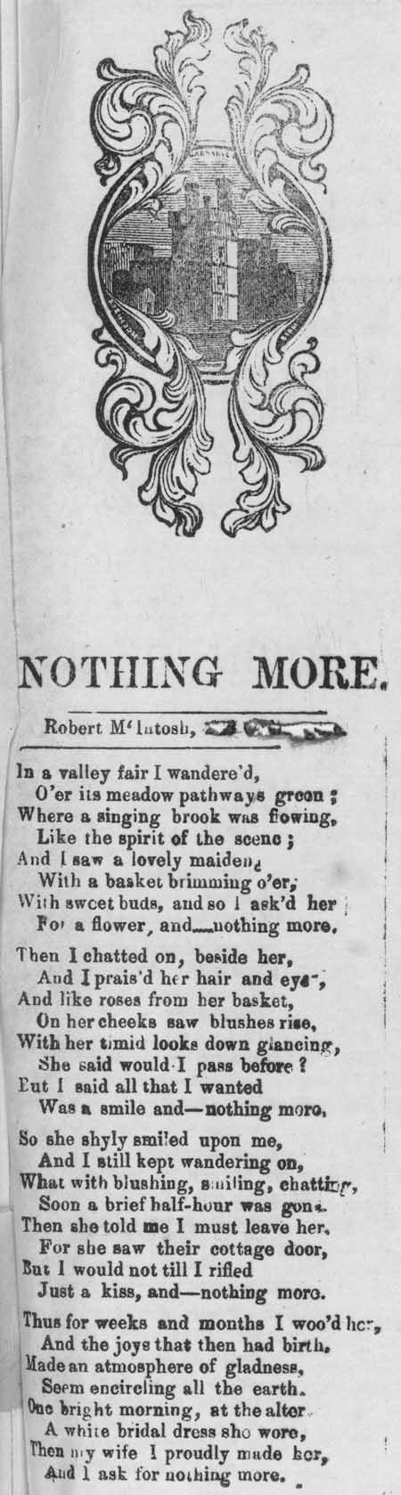 Broadside ballad entitled 'Nothing More'