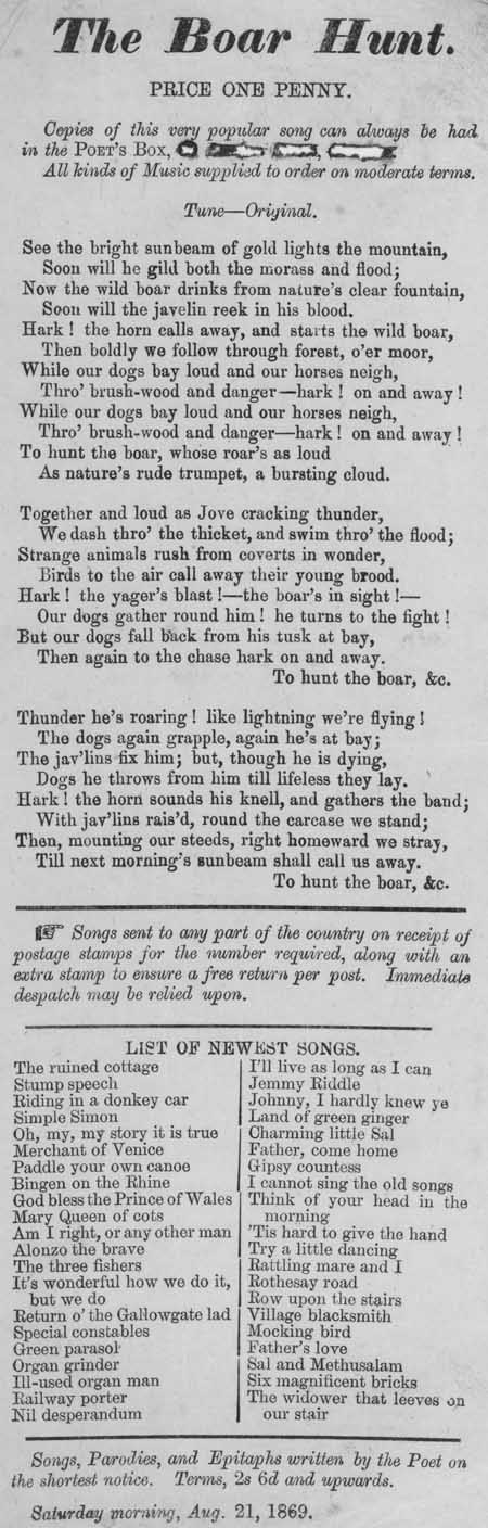 Broadside ballad entitled 'The Boar Hunt'