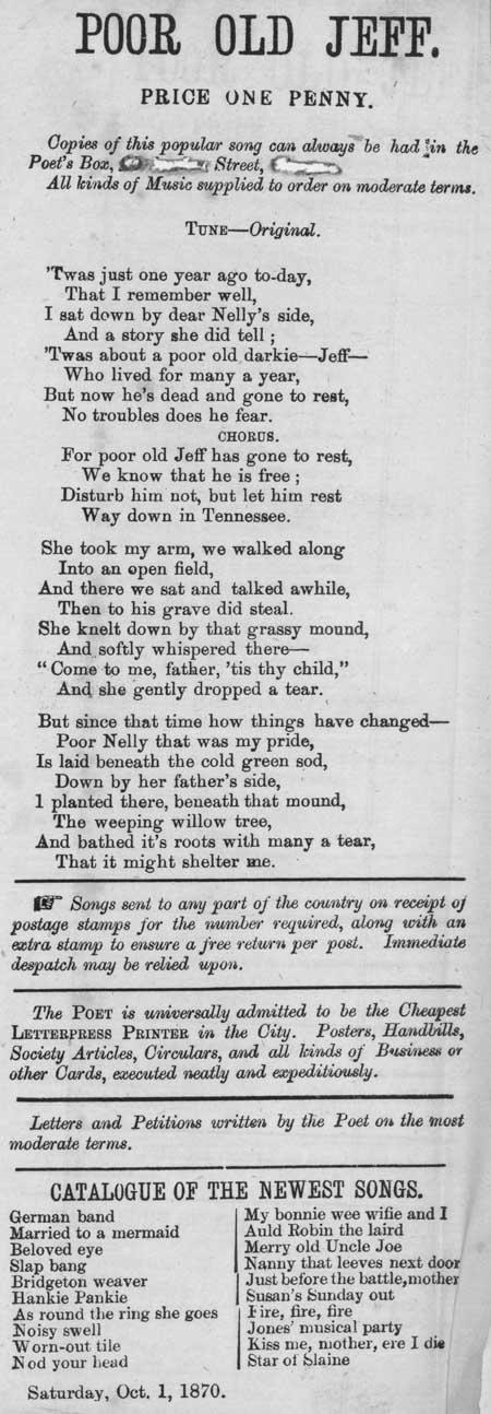 Broadside ballad entitled 'Poor Old Jeff'