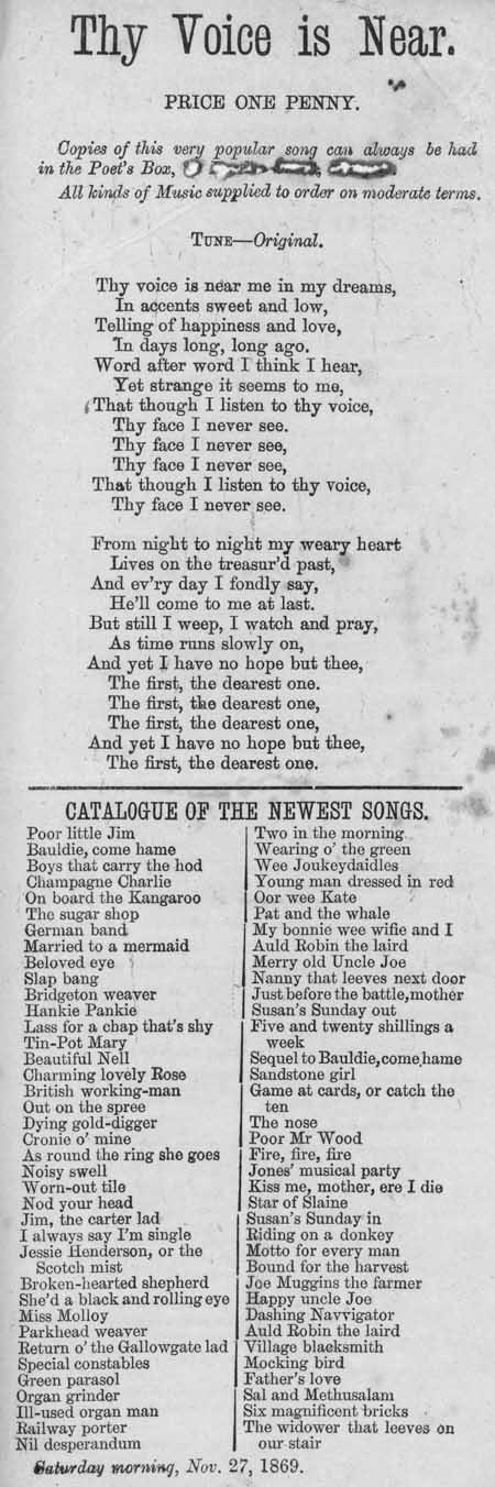 Broadside ballad entitled 'Thy Voice Is Near'