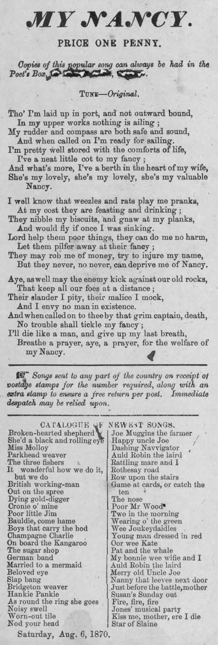 Broadside ballad entitled 'My Nancy'