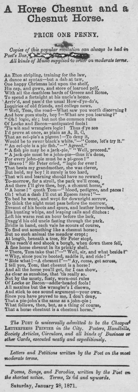 Broadside ballad entitled 'A Horse Chestnut and a Chestnut Horse'