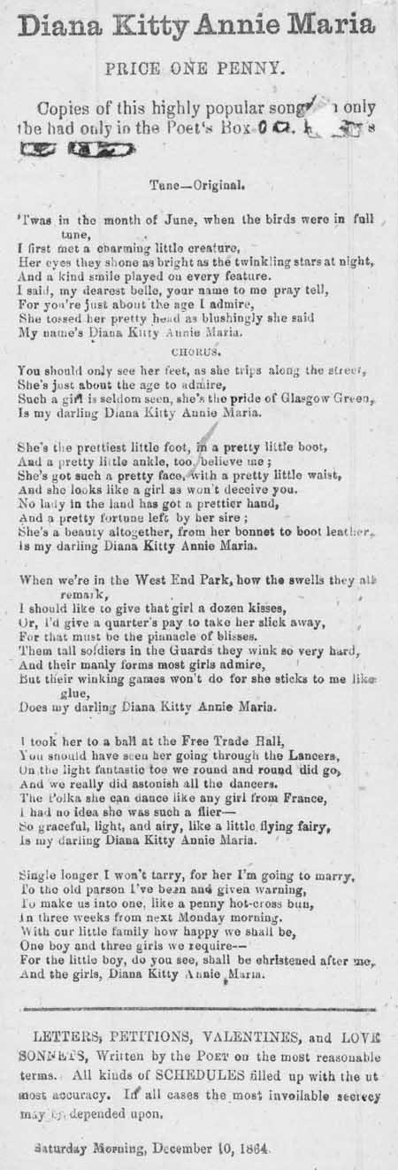 Broadside ballad entitled 'Diana Kitty Annie Maria'
