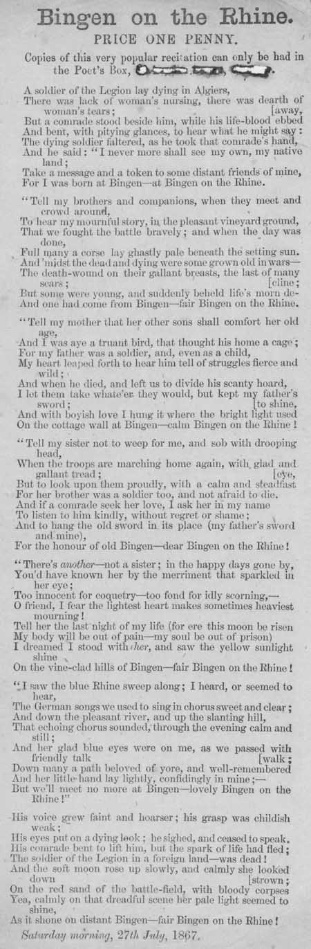 Broadside ballad entitled 'Bingen on the Rhine'