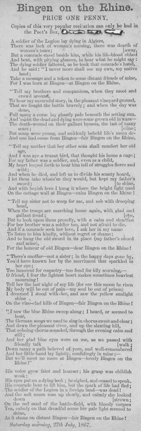 Broadside ballad entitled 'Bingen on the Rhine'