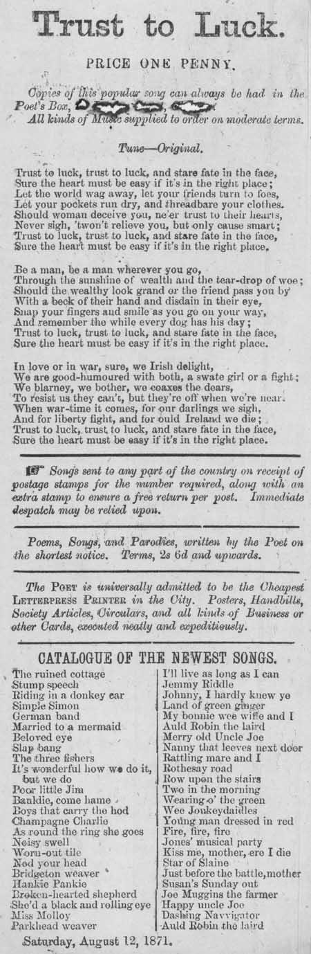 Broadside ballad entitled 'Trust to Luck'
