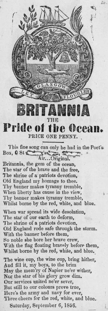 Broadside ballad entitled 'Britannia, the Pride of the Ocean'