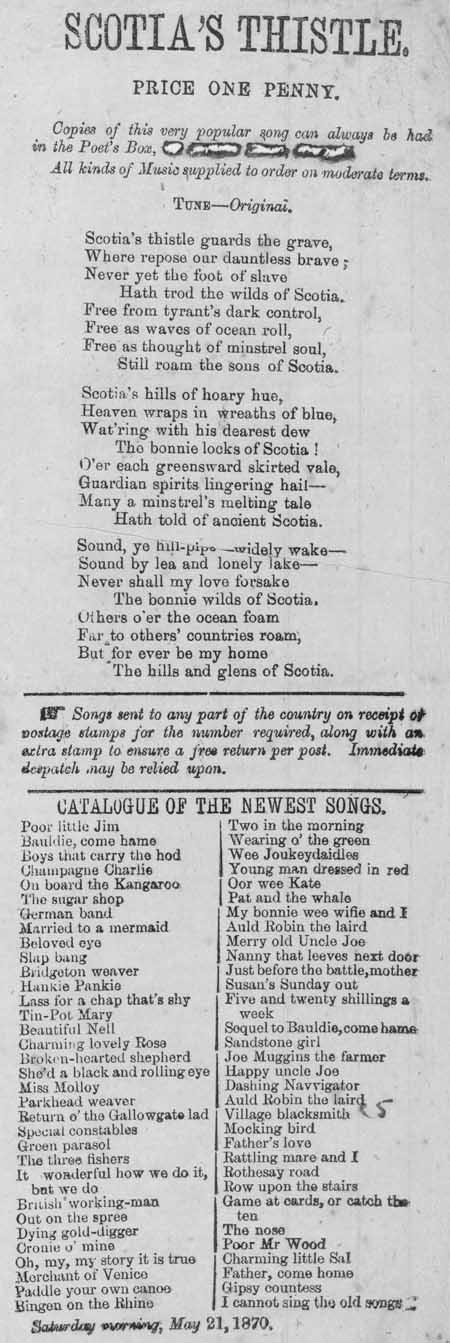 Broadside ballad entitled 'Scotia's Thistle'