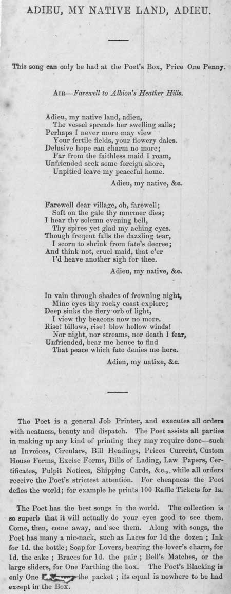 Broadside ballad entitled 'Adieu, My Native Land, Adieu'