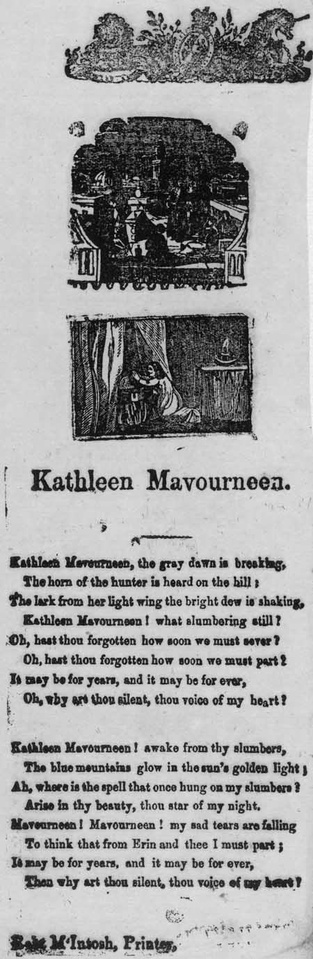 Broadside ballad entitled 'Kathleen Mavourneen'