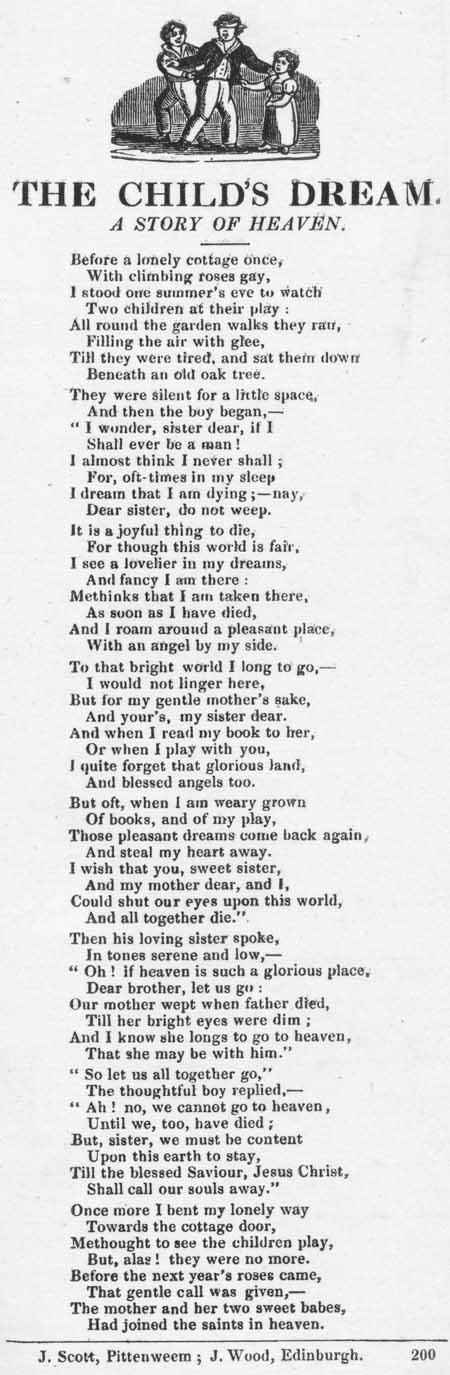 Broadside ballad entitled 'The Child's Dream: A Story of Heaven'