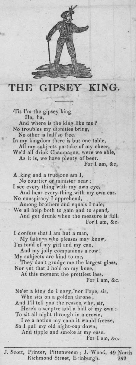 Broadside ballad entitled 'The Gipsey King'