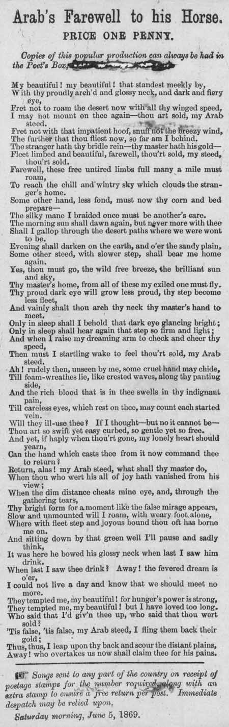 Broadside ballad entitled 'Arab's Farewell to his Horse'