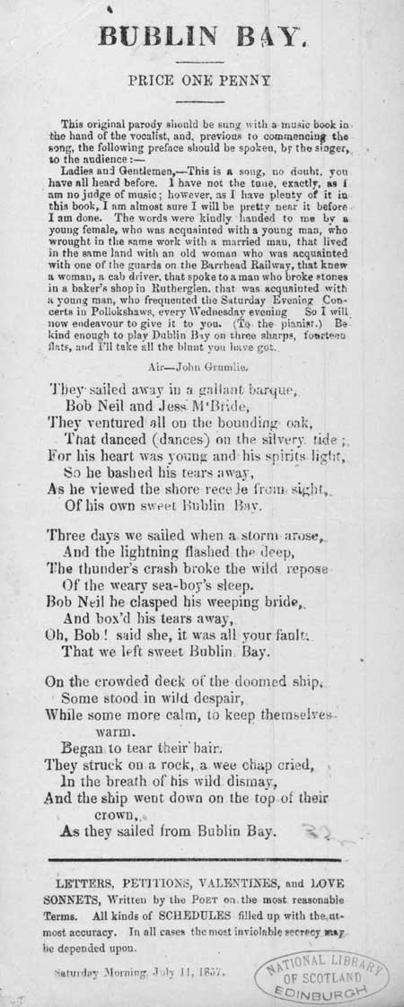 Broadside ballad entitled 'Bublin Bay'