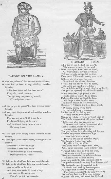 Broadside ballads entitled 'Parody on the Lammy' and 'Black-eyed Susan'