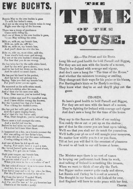 Broadside ballads entitled 'Ewe Buchts' and 'The Time Of The House'