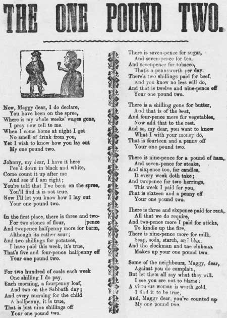 Broadside ballad entitled 'The one pound two'