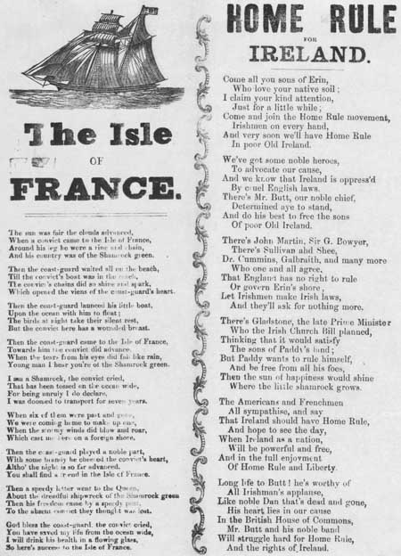 Broadside ballads entitled 'The Isle of France' and 'Home rule for Ireland'
