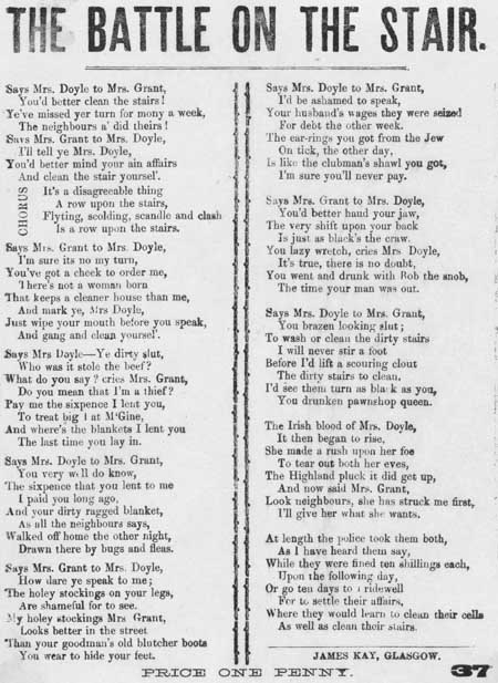 Broadside ballad entitled 'The battle on the stair'