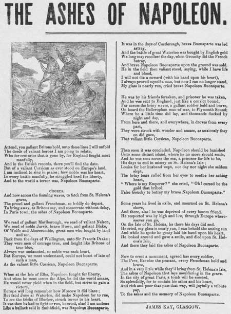 Broadside ballad entitled 'The Ashes of Napoleon'