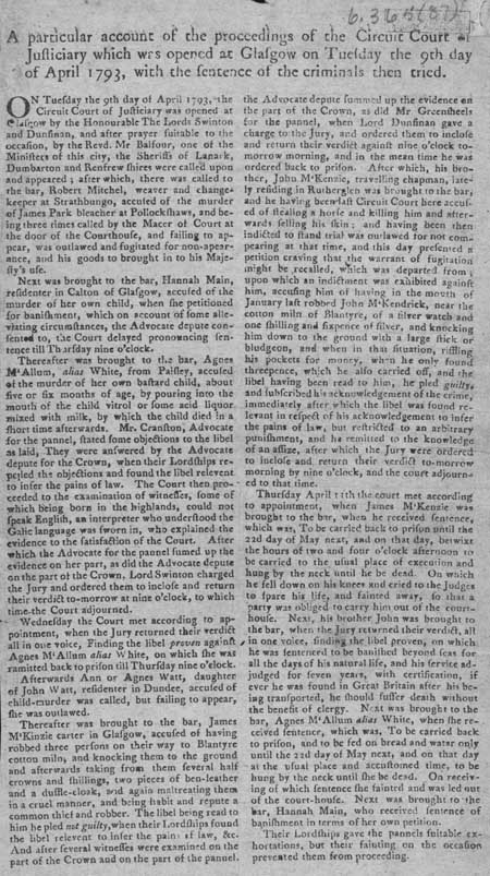 Broadside concerning the proceedings of the Circuit Court of Justiciary, Glasgow