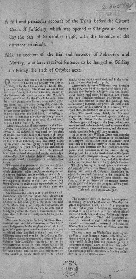 Broadside concerning the proceedings of the Circuit Court of Justiciary, Glasgow, Saturday 8th September 1798