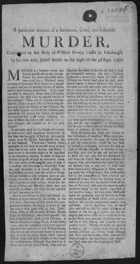 Broadside regarding the execution of Isobell Smith
