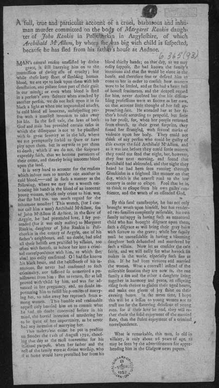 Broadside regarding the murder of Margaret Rankin