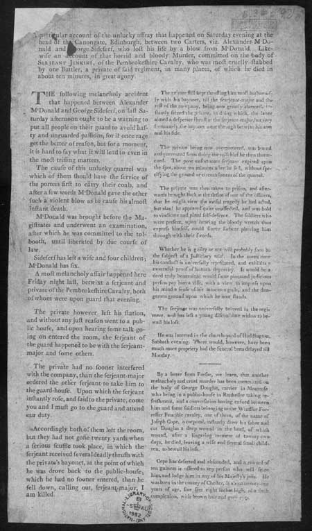 Broadside concerning an affray, and two murders