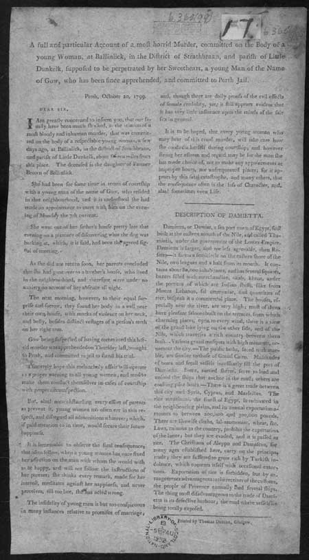 Broadside concerning the murder of a young woman in Ballinlick