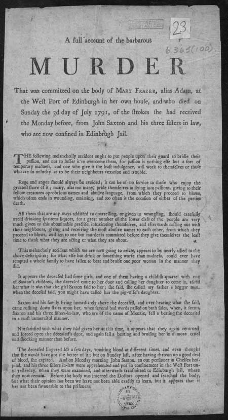 Broadside entitled 'Barbarous Murder'