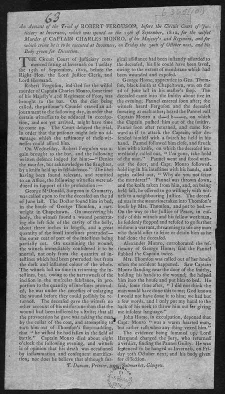 Broadside concerning the trial of Robert Ferguson