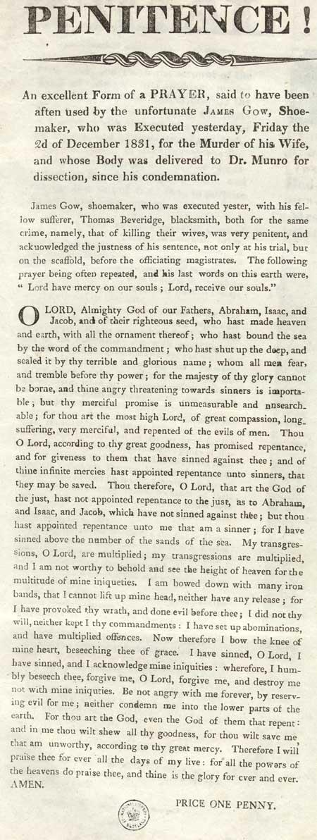 Broadside entitled 'Penitence!'