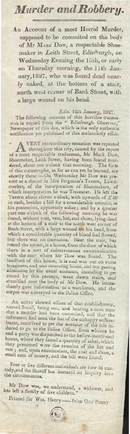 Broadside entitled 'Murder and Robbery'