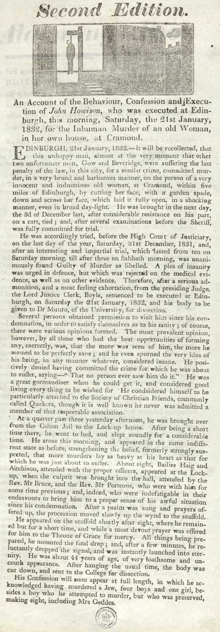 Broadside concerning the execution of John Howison