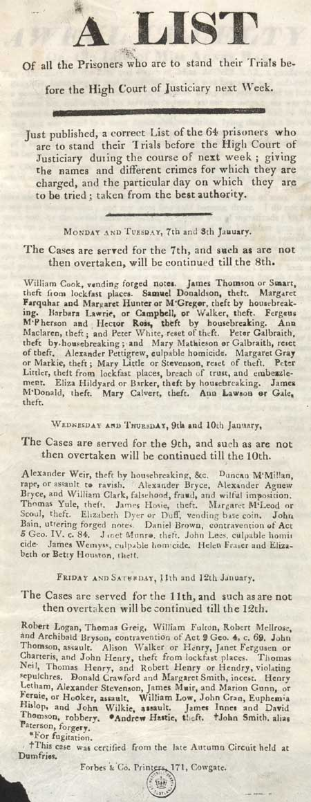 Broadside entitled 'A list of all the Prisoners who are to stand their Trials before the High Court of Justiciary next Week'