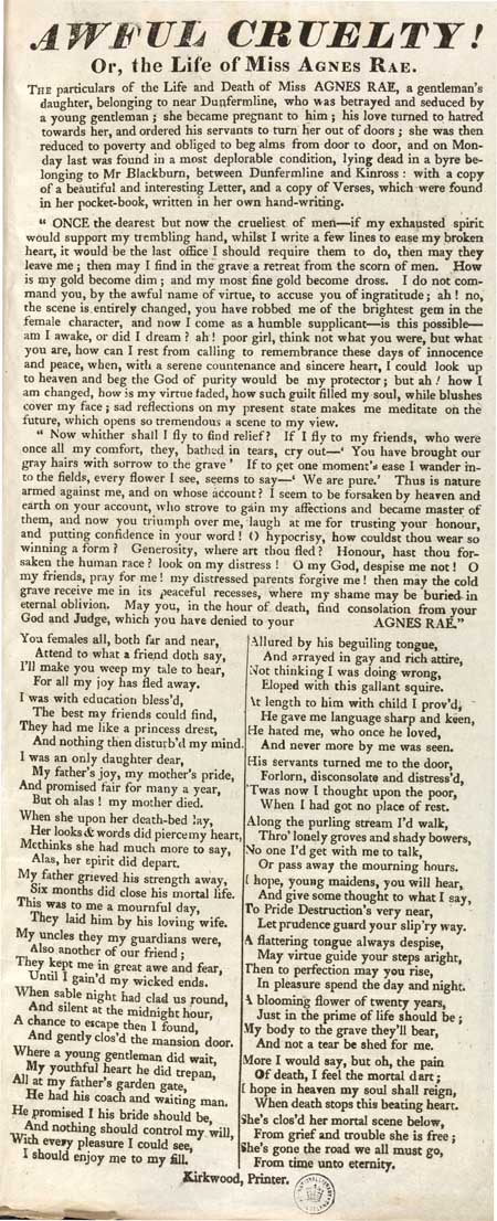 Broadside entitled 'Awful Cruelty! Or, the Life of Miss Agnes Rae'