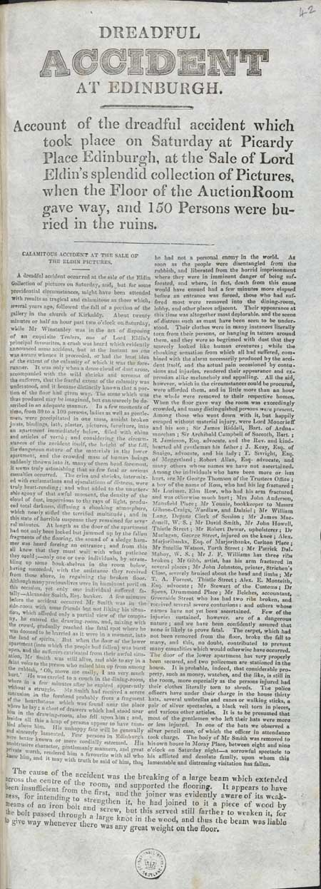 Broadside entitled 'Dreadful Accident at Edinburgh'