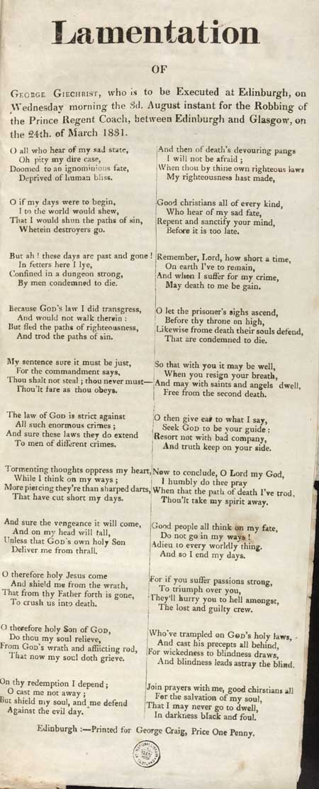 Broadside entitled 'Lamentation'