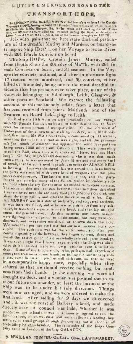 Broadside entitled 'Mutiny & murder aboard the transport Hope'
