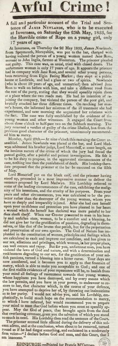 Broadside entitled 'Awful Crime'