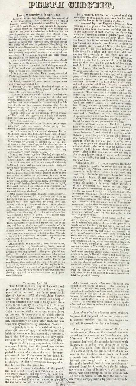 Broadside concerning the proceedings of the Circuit Court of Justiciary, Perth