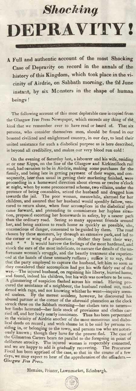 Broadside entitled 'Shocking Depravity!'