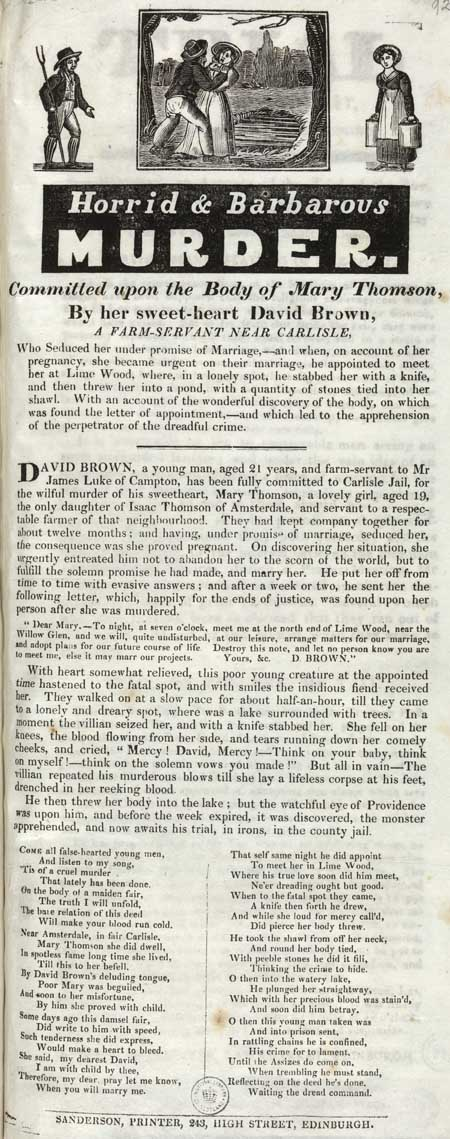 Broadside entitled 'Horrid and Barbarous Murder'