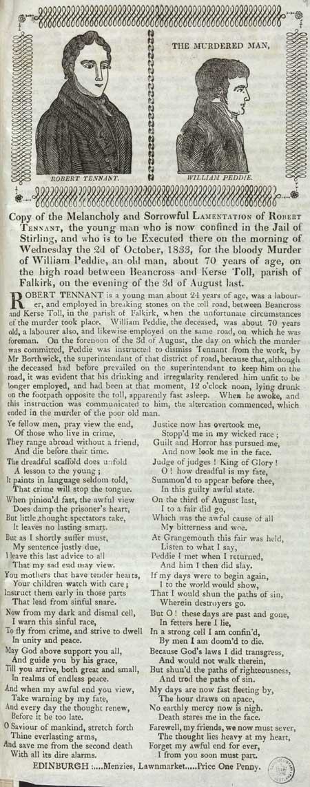 Broadside concerning the murder of William Peddie by Robert Tennant