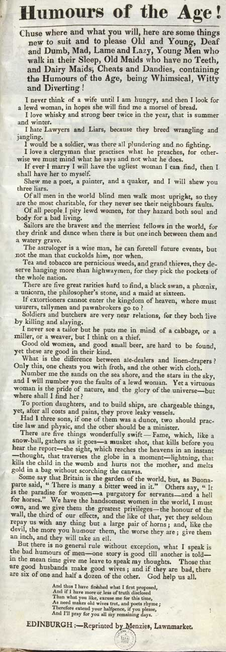Broadside entitled 'Humours of the Age'