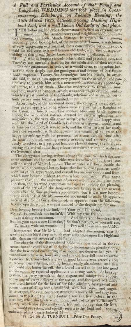 Broadside concerning a ludicrous wedding in Crosscauseway, Edinburgh